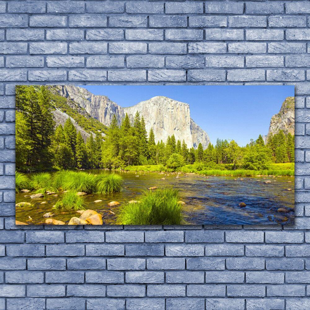 Leinwand-Bilder Wandbild Leinwandbild 140x70 See Gebirge Wald Natur