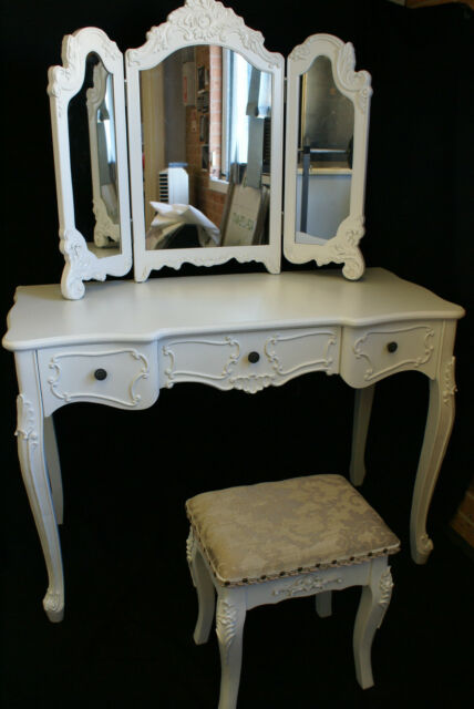 NEW FRENCH PROVINCIAL DRESSING TABLE JEWELLERY MAKE UP/ STUDY DESK & STOOL