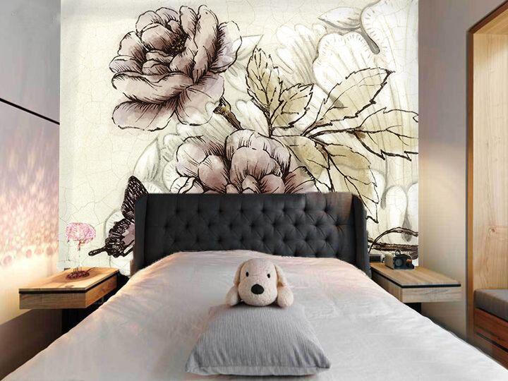 3D Fiore Pittura 3 Parete Murale FotoCarta da parati immagine sfondo muro stampa