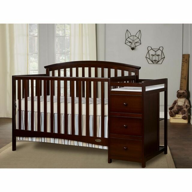 Cherry 5 In 1 Side Convertible Crib Changer Nursery Furniture Baby Toddler Bed