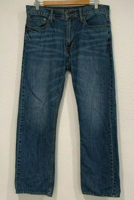 American Eagle Relaxed Jeans Mens Straight Leg Denim Pants 33x32 Actual Sz 34x30