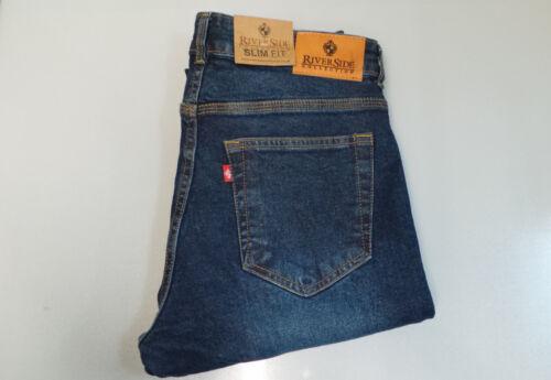 Jeans Denim Uomo 100/% Autentico RIVERSIDE COLLEZIONE Tasca Croce darkblue Slimfit