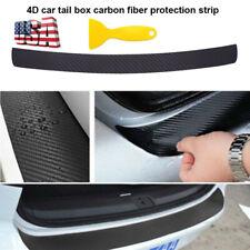 Car 4d Carbon Fiber Plate Sticker Sill Scuff Cover Trunk Protection Strip Black