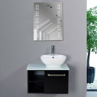 Bathroom Illuminated Mirror Led Light Sensor Demister Shaver Clock Wall Mounted