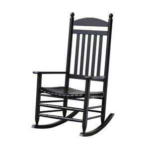 Rocking Chair Black Slat Patio Slatted Back Extended