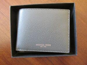 7654f530426f NWT Michael Kors Men s Harrison Slim Billfold Wallet w Box (Gray)