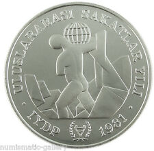 TURKEY 3000 LIRA 1981 Silver BU INTERNATIONAL YEAR OF DISABLED PERSONS