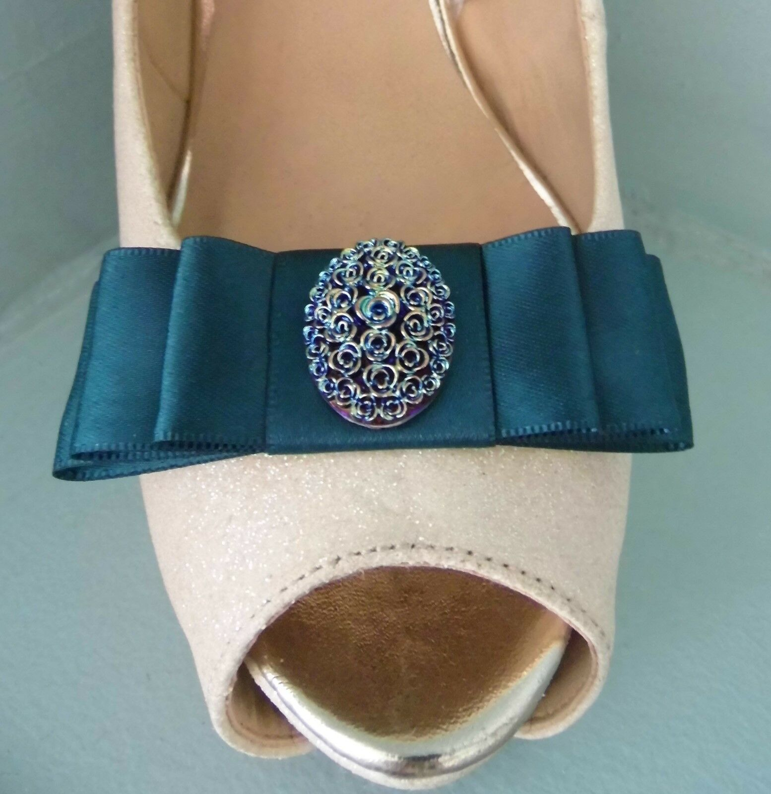 2 Petrol Green Bow Clips for Shoes with Two Tone Oval Button Centre