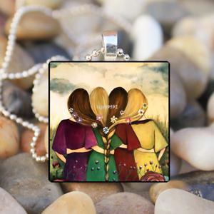 Quatre meilleures soeurs art glass tile Collier Pendentif Bijoux en argent