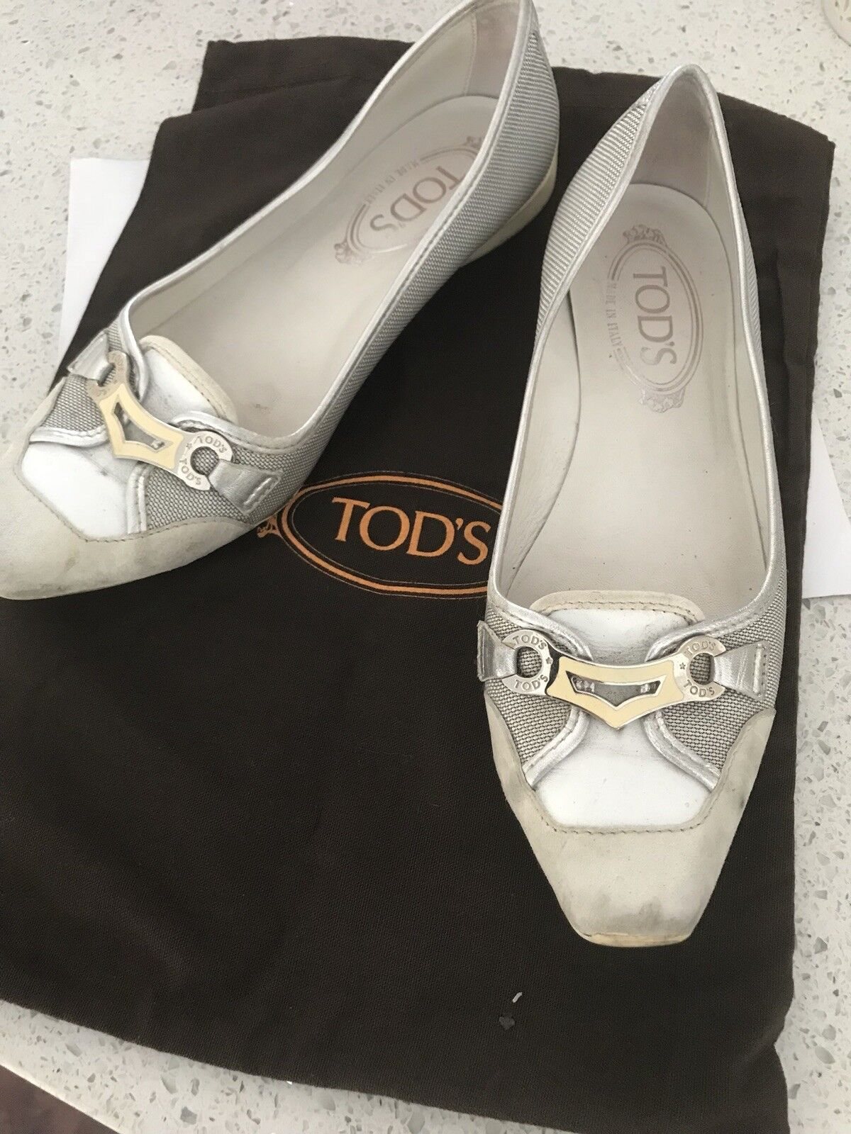Tod's WEISS/Silver Jackie Keeper Flats schuhe36 / 6