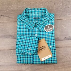 Field And Stream Mens Teal Plaid Smartwick Button Down Long Sleeve Shirt Small