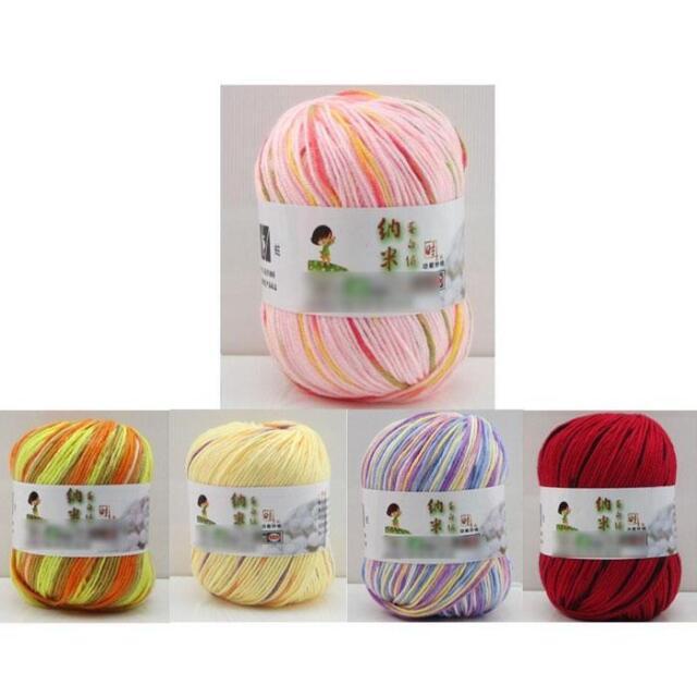 Mixture Colors Fibroin Wool Cashmere Silk Wool Skein Fiber Ball Knitting Yarn