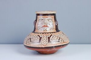 Antico-vaso-Marotti-Shobo-vecchio-oggetto-arte-peruviana-decoro-tribale-20-cm