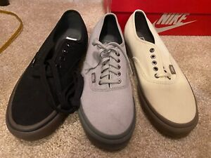 Lot-of-3-Pairs-Vans-Authentic-Men-039-s-9-5-Gray-Off-White-and-size-9-Black