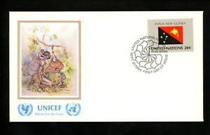 Distingué Onu Nations Unies Fdc Ny #434 Unicef Cachet Drapeau Série Papouasie-nouvelle-guinée 1984-afficher Le Titre D'origine