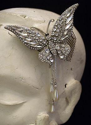 1pc Grande Farfalla Cristallo Perla Goccia Capelli Diapositiva Pettine-da Cerimonia Sera- Aspetto Estetico