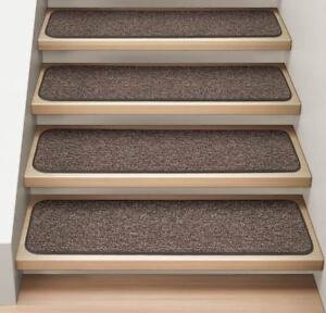 """Set of 15 ATTACHABLE Carpet Stair Treads 9""""x36"""" PEBBLE GRAY runner rugs"""