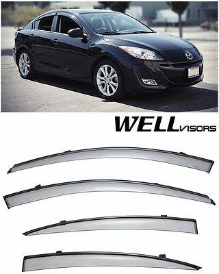 Wellvisors Rain Sun Wind Deflectors Mazda 3 10-13 Window Visors Black