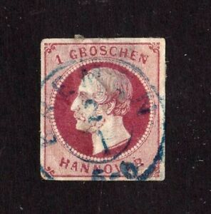 Hanover stamp #19, used, imperf, great margins, 1859 - 1861