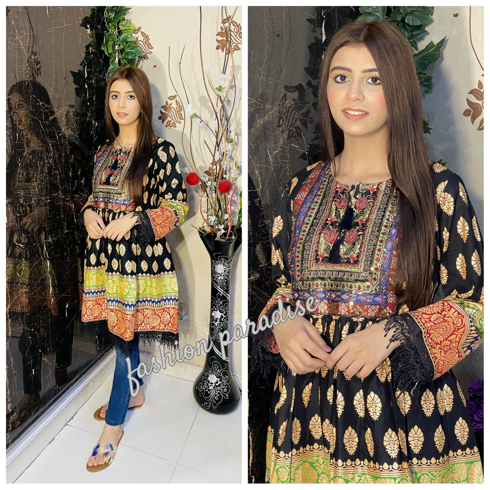 Embroidered cotton lawn tunic/shirt/frock ladies/girls high quality