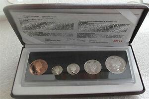 1908-1998-CANADA-1-2-SILVER-DOLLAR-90th-ANNIVERSARY-SET-PROOF-5-COINS-COA-BOX