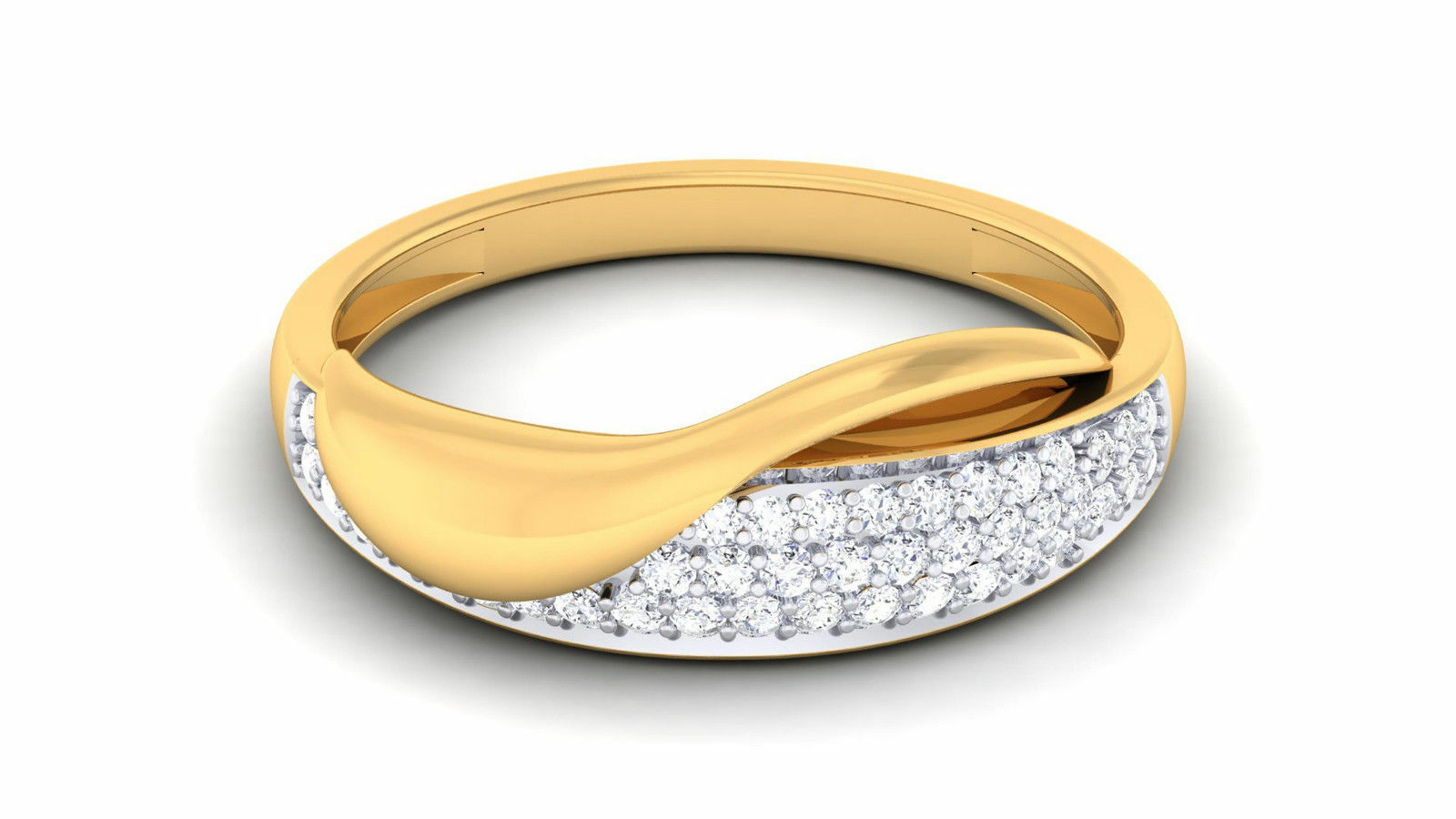 Pave 0.37 Cts Round Brilliant Cut Diamonds Anniversary Ring In Hallmark 18K gold