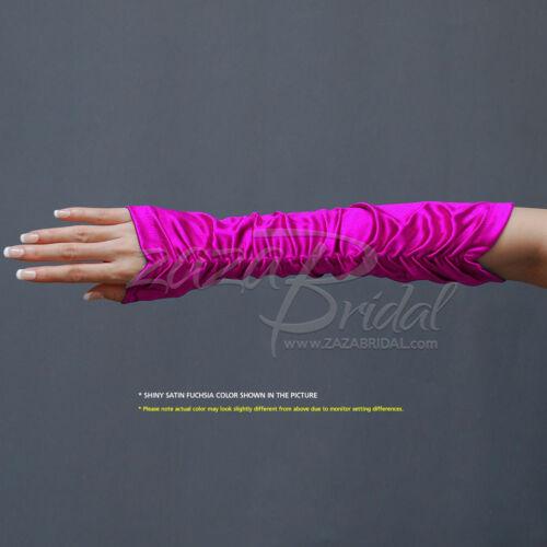 4-Way Stretch Matte Finish Satin//Shiny Stretch Satin Gathered Fingerless Gloves