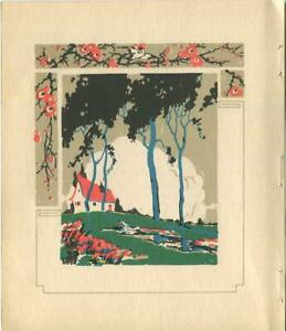 ANTIQUE-NATURE-GARDEN-COTTAGE-BLACK-BLUE-TREES-CLOUDS-WOODCUT-ART-NOUVEAU-PRINT