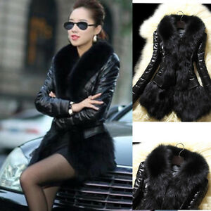 Womens-Fur-Collar-Cardigan-Coat-Leather-Thick-Jacket-Overcoat