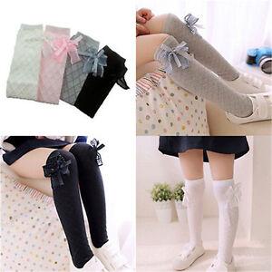 e11e0a305 Girl Classic Kids Cotton Socks Tights School High Knee Gridding Bow ...