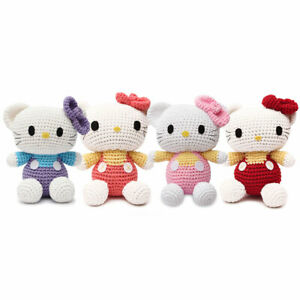 Cute Cat Kitten Handmade Amigurumi Stuffed Toy Knit Crochet Doll Hand Knitted