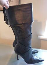 River Island Ladies Boots 5 38 Black Leather Knee High Winter Heel Stiletto Sexy