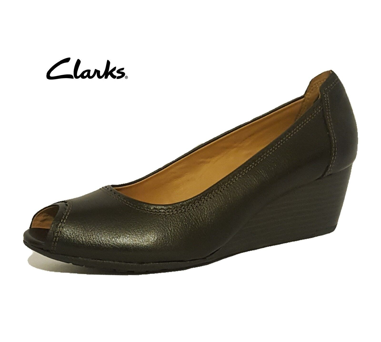 CLARKS BURMESE SUN BLACK LEATHER WEDGES PEEP TOE COURT Schuhe LADIES UK SIZE 7.5