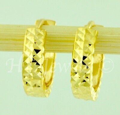 18k  solid yellow gold huggie hoop earring earrings diamond cut 1.90 grams #5035