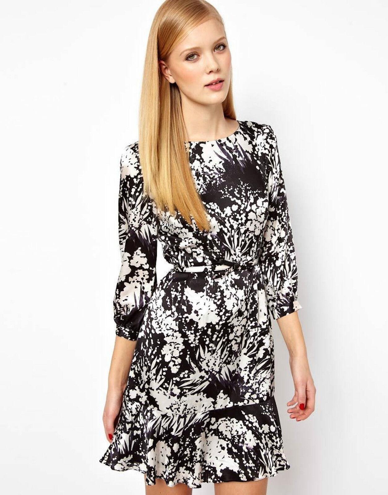 KAREN MILLEN Fluid Print Bow Belted Dress schwarz Weiß UK Größe 14 cocktail party