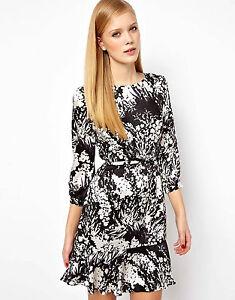 KAREN-MILLEN-Fluid-Print-Bow-Belted-Dress-Black-white-UK-Size-14-cocktail-party