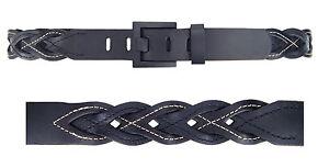 Cinturón De Cuero Negro Ella Jonte Hombre Mujer Unisex trenzado
