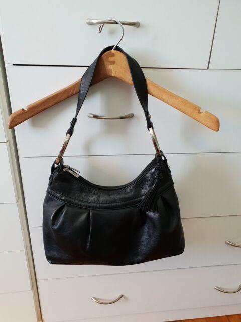 CELLINI Shoulder Bag Black Tassel Handbag Leather Boho VGC B23
