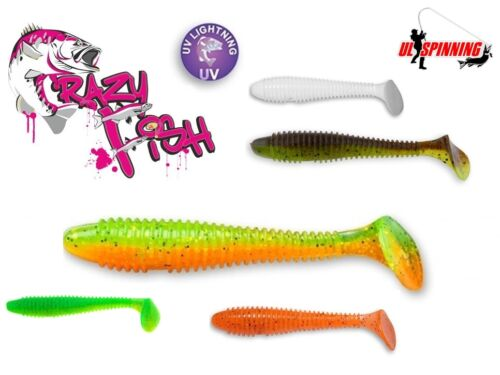 "Soft Lure Fishing CRAZY FISH 4 Pcs VIBRO FAT 10cm 4/"" Paddle Tail Bait Shad Bass"