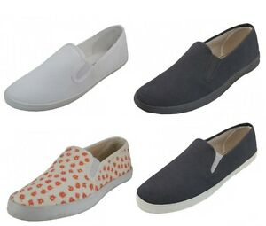 women's casual slip on canvas shoes black / coral / white