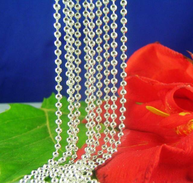 Wholesale 5pcs Silver Beads Chain Necklaces 16-30 inch