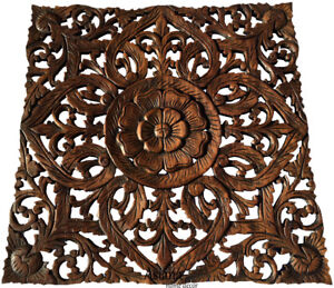 Asian Carved Wood Wall Decor Plaque Floral Wood Wall Art Panel