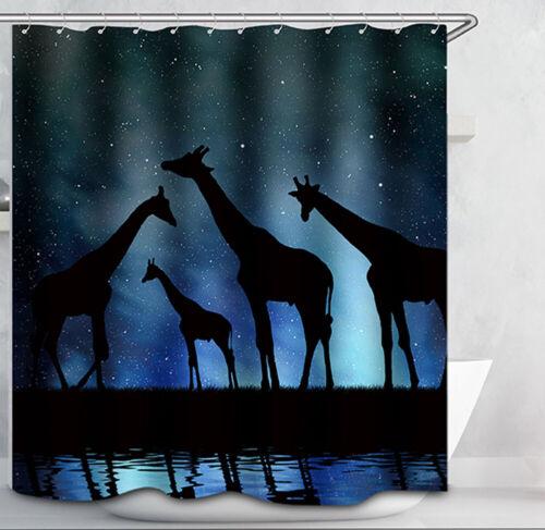 Giraffe Family Silhouette Fabric SHOWER CURTAIN 70x70 Night Star Sky Safari
