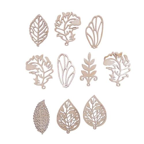 10pcs Wood Chips Mixed Leaves Home Decor DIY Handmade Accessories NIGH