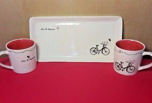 """Love & Happiness"" Mug & Platter set Vintage Bike MAGENTA Makers of Rae Dunn"