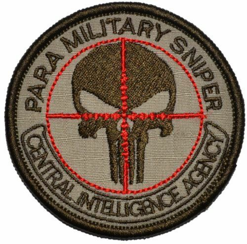 CIA Paramilitary Sniper Punisher Skull 3 inch Military//Morale Patch Hook Backing