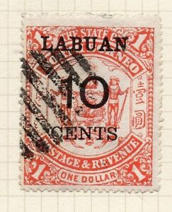 North Borneo / Labuan 1895 Early Issue Fine Used 10c. Optd Surcharged 070015