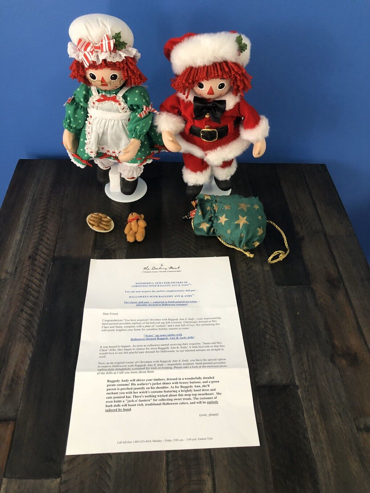 Christmas With Raggedy Ann And Andy Danbury Mint Dolls In Box 2006