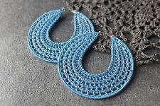 Handmade crochet hoop earrings 70mm beaded earrings boho gypsy style jewellery