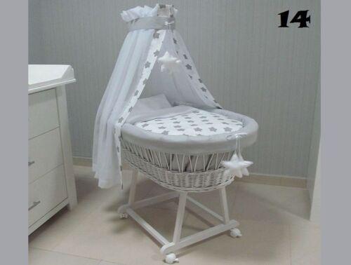 Berceau bébé Panier Moise en osier chassis petites roux literie drape 9 couleur